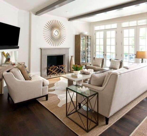 белая стенка в гостиную в современном стиле