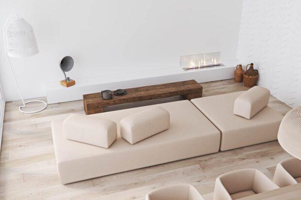 камин в стиле минимализм в интерьере