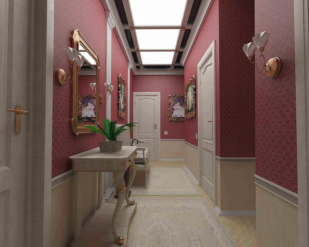 В узком коридоре или однокомнатной квартире с небольшой площадью очень уместно будет сочетание обоев двух цветов.