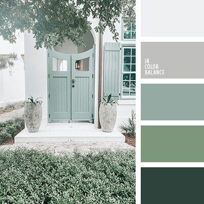 цветовая палитра сочетания зеленого с серым