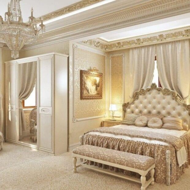 Классический стиль в дизайне спальни в светлых тонах