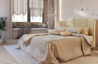 спальня в светлых тонах и со светлой мебелью