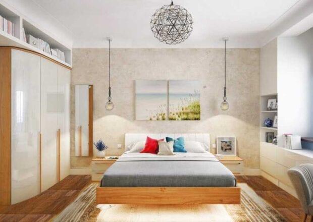 Спальня в современном стиле в светлых тонах
