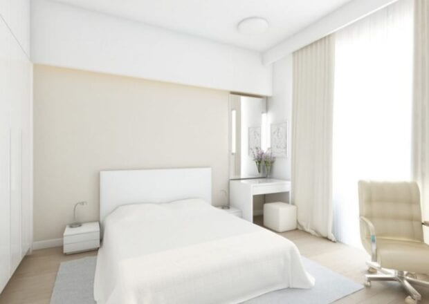 Минимализм в спальне в светлых тонах