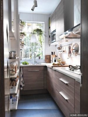 Дизайн маленькой кухни 5 кв.м с холодильником — фото