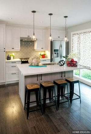 Интерьер кухни, совмещенной с гостиной — фото