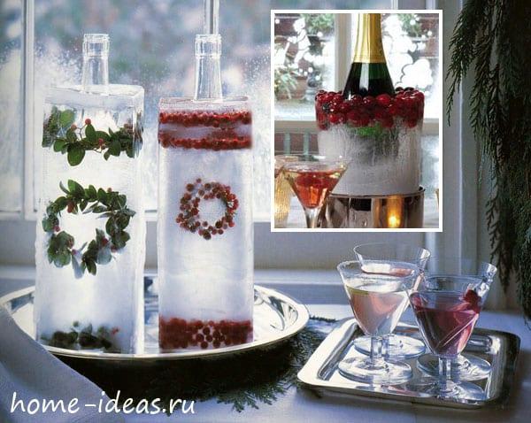 Ледяные новогодние украшения для улицы