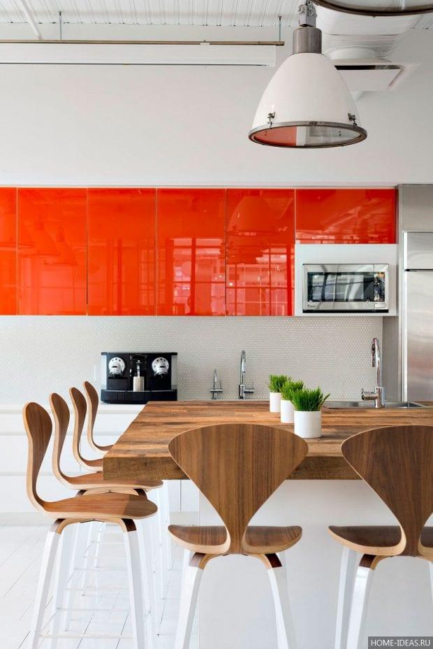Оранжевая кухня в интерьере: фото