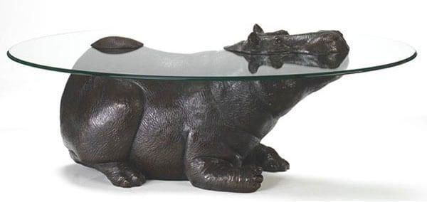 Стеклянные столы — скульптуры для интерьера