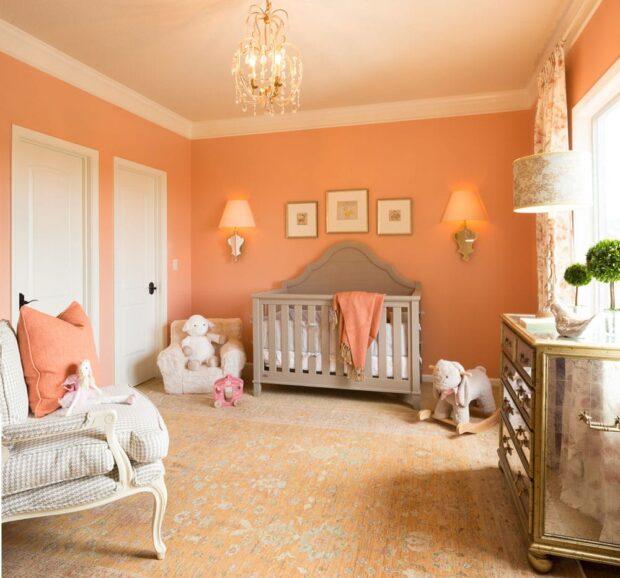 Персиковый цвет в интерьере детской