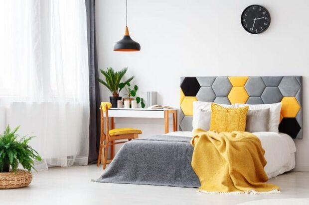 Желтый и серый цвет в интерьере
