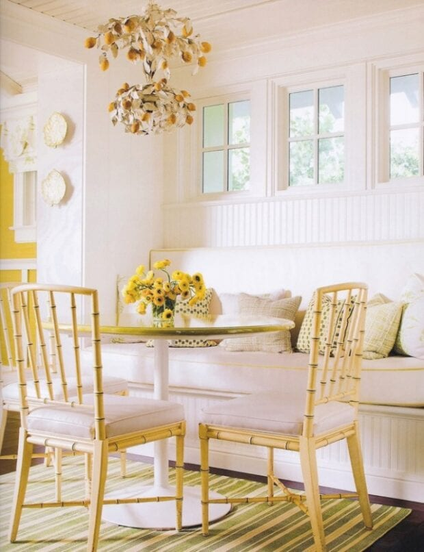 Сочетание белого и желтого в интерьере