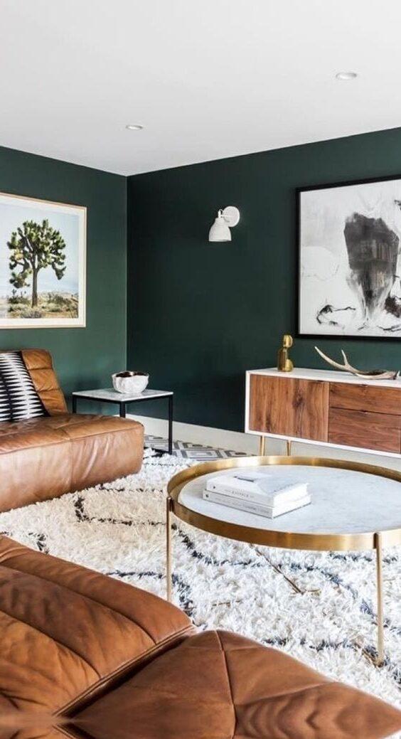 Сочетание зеленого и коричневого в интерьере