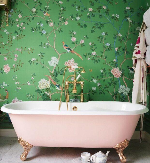 Дизайн зеленой ванной комнаты