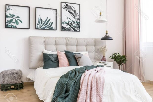 Сочетание зеленого и розового в интерьере