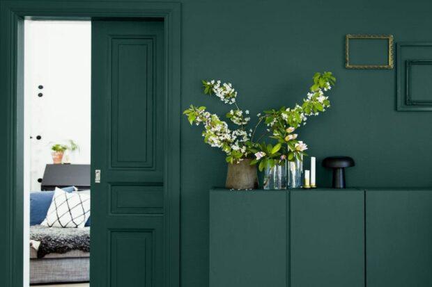 Тёмно-зелёный цвет в интерьере