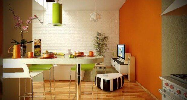 интерьер в зелёно-оранжевом цвете