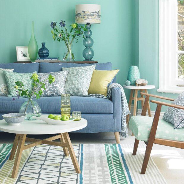 Сочетание голубого и зеленого в интерьере